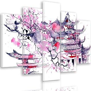 Feeby Frames, Cuadro en Lienzo - 5 Partes - Cuadro impresión, Cuadro decoración, Canvas Tipo A, 150x100 cm, Cerezo del JAPÓN, ABSTRACCIÓN, Morado