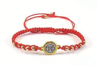 Saint Benedict Red Bracelet Silver and Gold Color Medal Pulseras Roja De San Benito Con Medalla Color Plateado y Dorado