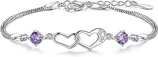 Paulton 925 الفضة الاسترليني سوار ثنائي القلب مكعب زركونيا مجوهرات أنيقة هدية للنساء الفتيات، سلسلة قابلة للتعديل (SL069)