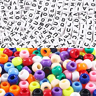 Quefe Letter Beads Large Hole Beads 1000pcs Beads Kit 6 x 6mm Acrylic Alphabet Beads