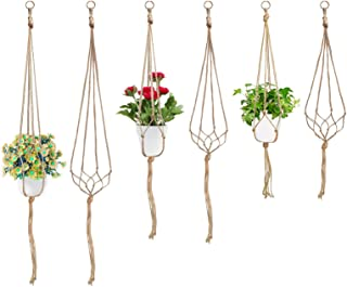 Swpeet 6 Pack 3 Sizes Macrame Hanging Planter Holder Plant Hanger Kit, Hanging Planter Basket Rope Holder for Indoor Outdo...