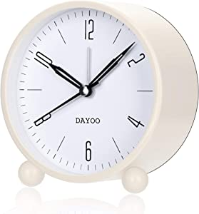 DAYOO Alarm Clock, 4 Inch Round Alarm Clock Non Ticking, Battery Operated and Light Function, Super Silent Alarm Clock, Simple Stylish Design for Desk/Bedroom (White)