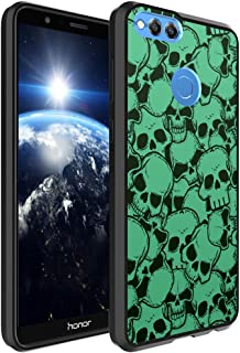 Huawei Honor 7X Case, Capsule-Case Hybrid Slim Hard Back Shield Case with Fused TPU Edge Bumper (Black) for Huawei Honor 7X - (Skull Green)