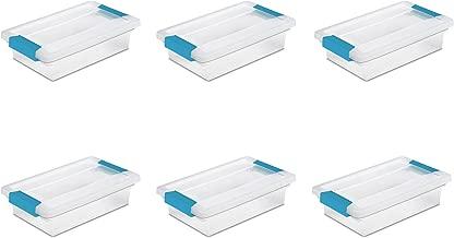 Sterilite 19618606 Small Clip Box, Clear Lid & Base w/Colored Latches, 6-Pack