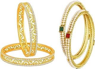 Fashion Jewelry Indian Bollywood 14 K Gold Plated Faux Pearl Kundan Rhinestone Combo Bracelet Bangle (2 Pc Each)