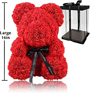 Rose Flower Bear - Trendiees Fully Assembled 16 inch Hugz Teddy Bear - Over 20 Dozen Artificial Flowers - Gift for Mothers Day, Valentines Day, Anniversary & Bridal Showers (Red) - w/Clear Gift Box