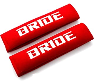 NEW RED Seat Belt Cover Shoulder Pads Pairs with Embroidery Bride Racing Logo
