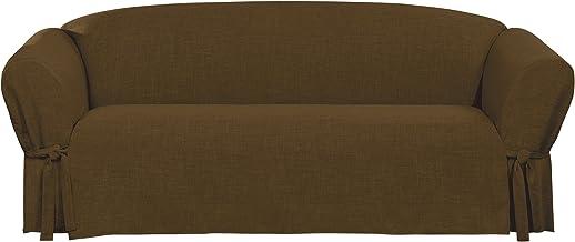 غطاء أريكة مكون من قطعة واحدة من الكتان من شورفيت، لون بني داكن