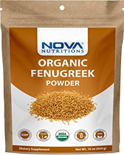 Nova Nutritions Certified Organic Fenugreek Seed Powder 16 OZ (454 gm) - Methi Seeds Ground - Trigonella Foenum Graecum