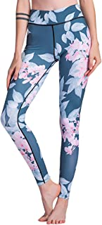 FEOYA Women High Waist Yoga Pants Tight Workout Pants Printed Trousers Gym Fitness Leggings