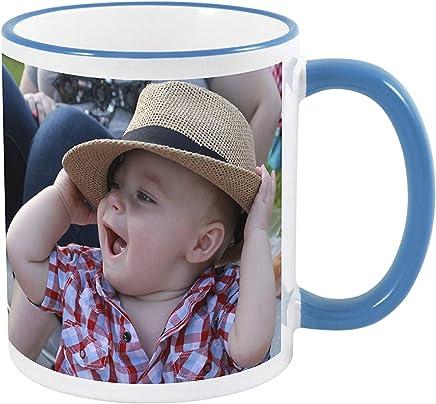 Preisvergleich für Kopierladen Fototasse individuell gestalten mit eigenem Foto oder Text - Geschenktasse mit blauem Rand und Henkel - Fotogeschenk - Kaffeebecher - Motivtasse