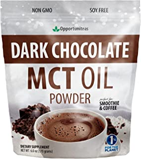 Dark Chocolate MCT Oil Powder - Sugar Free Hot Chocolate Mix - Perfect Low Carb Keto, Ketogenic Cocoa Supplement for Energy & Mood Support - Mix in Coffee, Tea, Drinks, Smoothies, Recipes - 6 oz