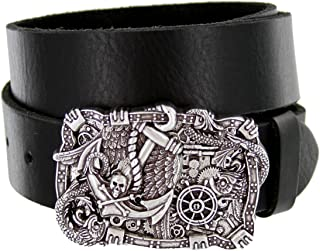 Pirate Buckle Mens Casual Jean Belt One Piece with Cowhide Leather Strap
