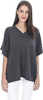 State Cashmere Women's 100% Cashmere Oversize Short Sleeve V Neck Sweater
