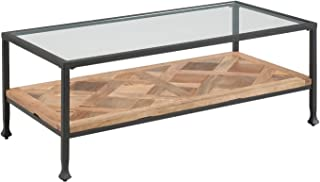 Reclaimed Wood and Glass Coffee Table - Open Terrarium Design - Iron Metal Black Frame