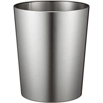 """iDesign Patton Round Metal Trash Can, Waste Basket Garbage Can for Bathroom, Bedroom, Home Office, Dorm, College, 8"""" x 8"""" x 9.7"""", Brushed Stainless Steel"""