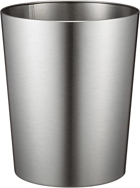 IDesign Patton Round Metal Trash Can Waste Basket Garbage Can For Bathroom Bedroom Home Office Dorm College 8 X 8 X 9 7 Brushed Stainless Steel
