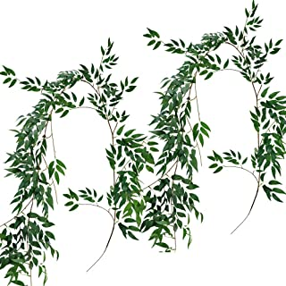 Supla 2 Pack 11.4' Silk Hanging Willow Jungle Leaves Greenery Vines Garland Fake Willow Twigs String in Green for Indoor Outdoor Wedding Decor Jungle Party Crowns Wreath