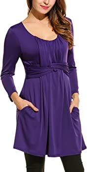 Hotouch Women O-Neck 3/4 Sleeve Solid Swing Tunic Top