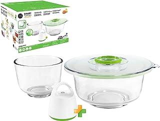 FOSA 1.5-Quart and 4-Quart Vacuum Glass Mixing Bowls and Dual-Vac Lid Combo set, 4-pieces set