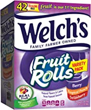 Welch's Fruit Snacks Rolls Variety Pack, Strawberry, Berry, Tropical, 42 Count (Pack of 1)