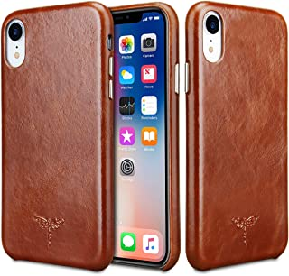 iPhone XR Case FRIFUN Genuine Leather Hard Back Case Thin Fit Snap Case Excellent Grip for iPhone XR Case 6.1 inch Case (Dark Brown)