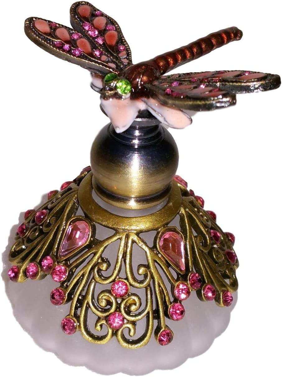Welforth Jeweled Pink Special Campaign Dragonfly Enamel Round Challenge the lowest price Crystal Ornate Perf