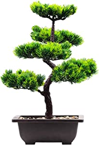 Hinyo Artificial Large Plants Bonsai Pine Tree,Welcoming Pine Tree Potted Plant Ornament Plastic Simulation Fake Tree Bonsai Living Room Garden Office Shop Décor-11×15.5