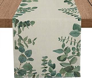Artoid Mode Eucalyptus Leaves Table Runner, Seasonal Spring Summer Green Plants Holiday Kitchen Dining Table Decoration fo...