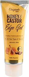 Africa's Best Originals Honey and Castor Edge Hair Gel for All Hair Types and Textures, Sulfate-Free, 4 Ounce