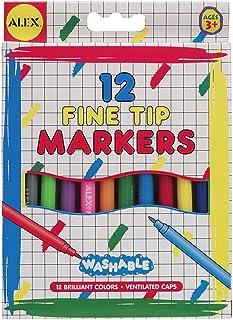 Alex Washable Fine Tip Markers Set - 12 Pieces - Multi Color