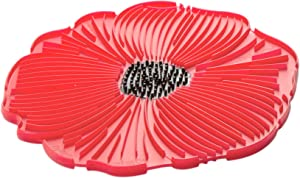 Charles Viancin - Poppy Pop Food Safe Silicone Trivet - 8''/20cm - Withstands Temperatures up to 220°C/428°F - BPA-Free, Plastic Free, Food-Grade Silicone - Microwave and Dishwasher Safe - Red Scarlet