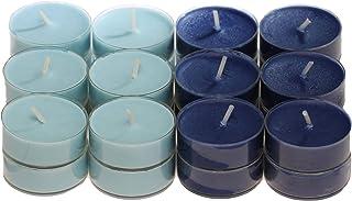 CandleNScent Scented Candles Tea Lights Variation – Light Blue - Dark Blue - Pack of 24