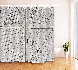 LB Rustic Barn Door Grey White Painted Barn Wood Decor Shower Curtain for Bathroom, Western Country Theme Decor, Waterproof Decor Curtain, 59 W x 70 L