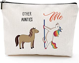 Niece Gifts from Aunt,Funny Gifts for Niece,Aunt Gift, Funny Aunt gifts,Auntie gifts from Niece,Nephew,Best Aunt Gifts,Makeup Bag, Make Up Pouch,Unicorn, Funny Handle Bag, Prize for Aunt