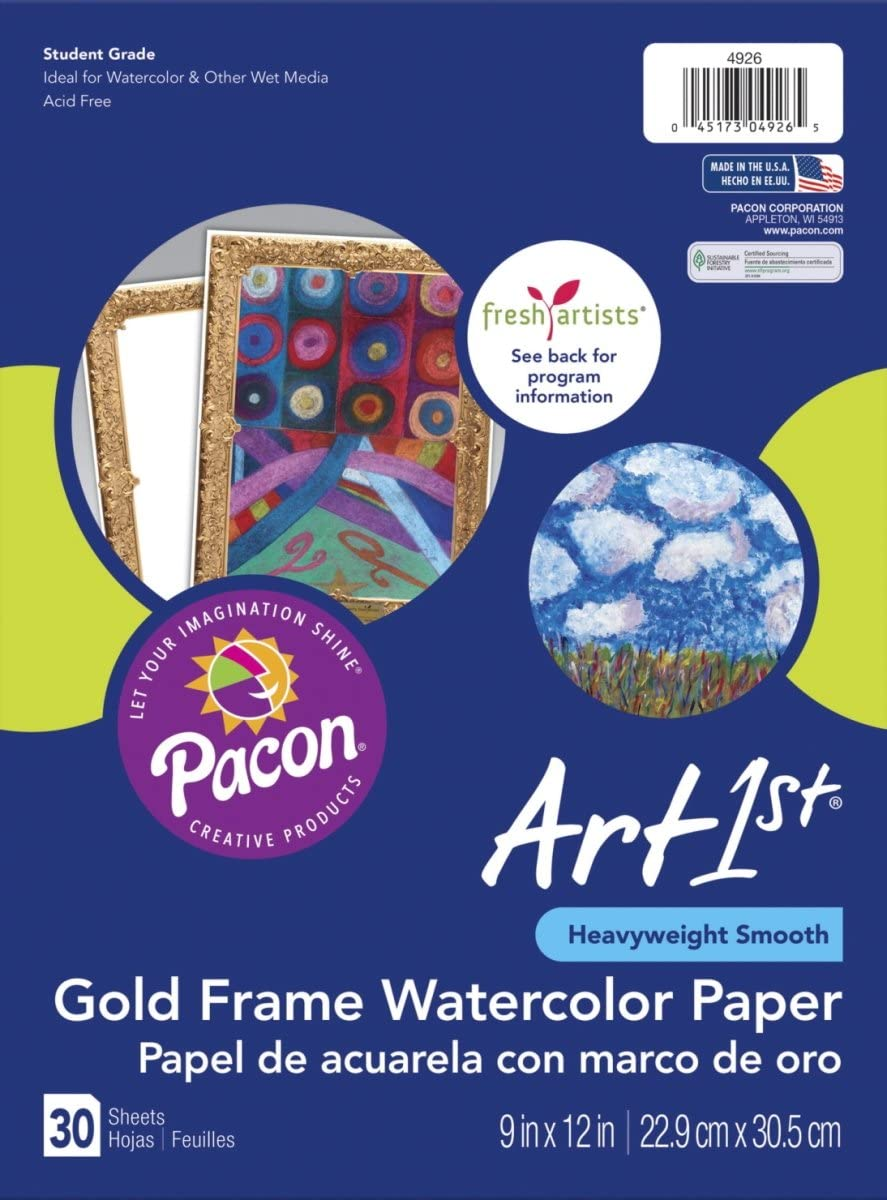 Pacon 1581283 9 x 12 Popularity store in. Fresh Gold Paper Frame4 Watercolor with