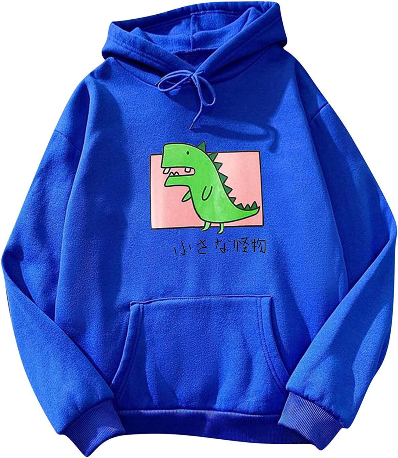 Lingbing Graphic Hoodies for Women, Cute Dinosaur Sweatshirts with Pockets Casual Lightweight Crewneck Pullover Fall Top