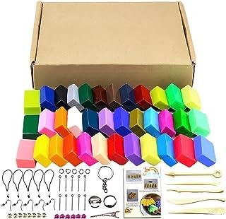 Kit de 32 colores de arcilla polimérica, 5 herramientas y distintos accesorios para el modelado, con tutoriales 32 colors