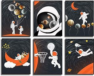 6 Set- Astronaut Art Print, Funny Aerospace Theme Canvas Wall Art Printing For Boys Bedroom Playroom Decoration (Unframed,...