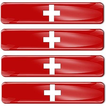 Biomar Labs 2 X Aufkleber 3d Gel Silikon Stickers Switzerland Schweiz Swiss Flagge Fahne Flag Auto Motorrad Fahrrad Fenster Tür Pc Handy Tablet Laptop F 54 Auto