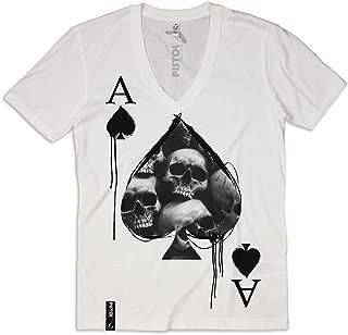 Pistol Boutique Hommes Blanc Col V Profond Graffiti Mots Fille Cœur T-Shirt