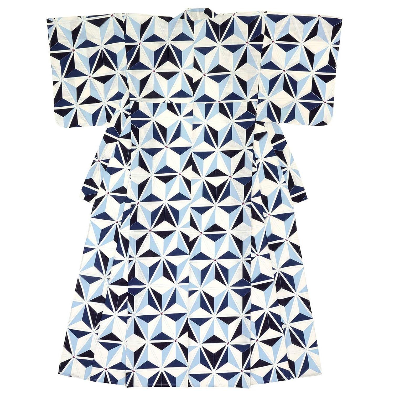 (ソウビエン) 浴衣 レディース 単品 白系 青 麻の葉 綿 紅梅 ボヌールセゾン フリーサイズ