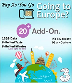 PrePaid Europe (UK Three) sim Card 12GB Data+Unlimited Minutes+Unlimited Texts for 30 Days with Free Roaming/USE in 71 Destinations Including All European Countries,South America and Australia