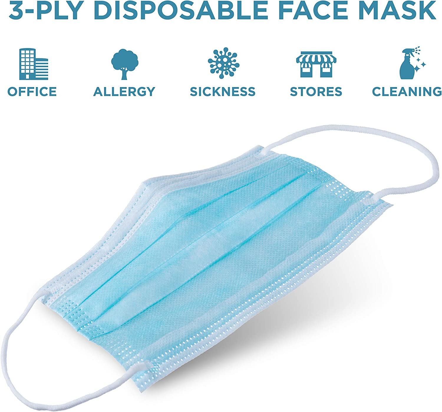 Jumbl Blue Disposable Face Masks Protective 3-Ply Breathable Comfortable Nose//Mouth Coverings for Home /& Office Pack of 150 Ships from USA Elastic Ear Loop 3-Layer Safety Shield for Adults//Kids