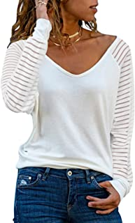 Womens Casual V Neck Tops Long Sleeve Shirts Striped...
