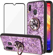 BestShare for Xiaomi Redmi Note 7 / Note 7 Pro Case & Screen Protector, Luxury Bling Glitter Crystal Kickstand Soft Rubber Bumper Shockproof Cover for Girls & Flexible Ring Holder, Purple