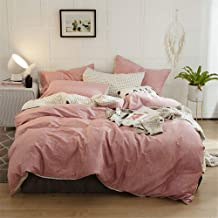 Duvet Cover Microfiber Double Bed Four-Piece Home Textile, Adult Bedroom with Pillowcase, Single-Sided Cotton Solid Color ...