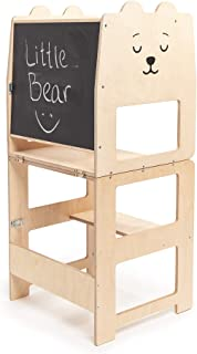 Craffox Kitchen tower/BEAR natural/helper stool for toddlers/Convertible stool with blackboard