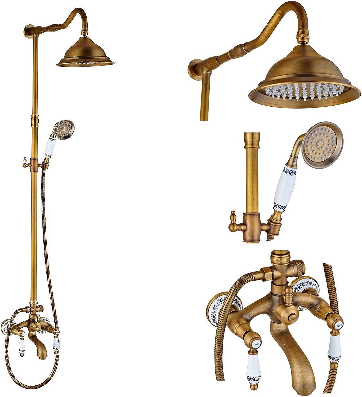 Antique Brass Shower Faucets Set 8'' Rainfall Shower Commodity Shelf Dual Handle Mixer Tap Swivel Tub Spout Bath Shower