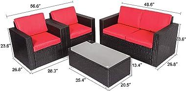 Kinbor 4 PCs Rattan Patio Furniture Set for Outdoor Garden Lawn Sofa Sectional Set Black (Red)